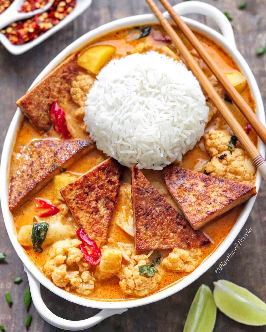 Red Curry with Cauliflower, Potato and pan fried Tofu